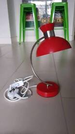 Red Vintage style bedside table lamp with free bulbs