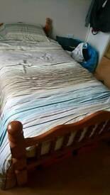 Single wood bed & memory foam mattress