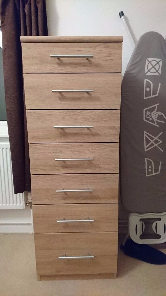 Prague 7 drawer narrow chest new oak in guildford - Shallow dressers for small spaces ...