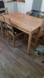 Table and 4 chairs, sofa like new
