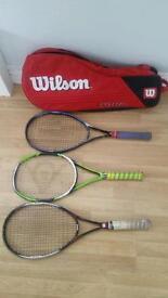 Three Wilson Tennis Rackets Plus a Large Wilson Racket Bag