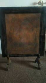 Antique Leather embossed fire screen