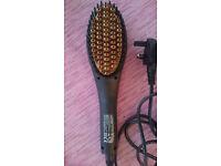 Gold Heated Ceramic Hair Straightener Brush