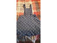 Pretty denim style dungaree dress