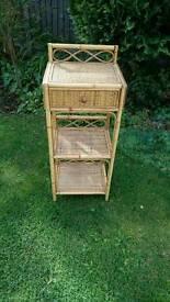 Bamboo and wicker shelf unit