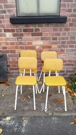 4 vintage retro chairs with metal legs 1950s 1960s