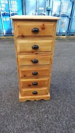 Solid Pine Tallboy Chest Of Drawers. Brass Handle . Can Be Painted. Shabby Chic