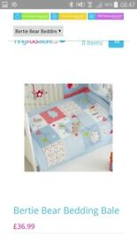 Bertie bear cot bedding
