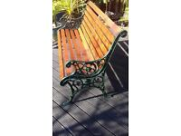 """Garden Bench...Cast Iron """"Lions Face"""" Refurbished."""