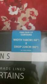 Red and cream flowery curtains 66x90