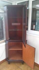 Stag mahogany corner display cabinet