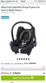 Maxi Cosi Black Raven stage 1 car seat, isofixbase and footmuff