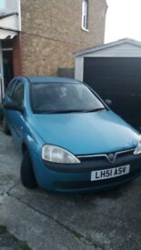 blue vauxhall corsa, mot and tax due for renewal in january.
