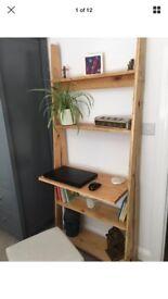 Reclaimed wood Nordic ladder desk shelves