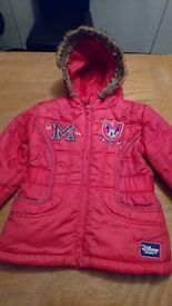 GIrls Pink Minnie Mouse Padded Coat Age 3 - 4 years