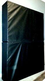 Double Black Leather Divan Bed