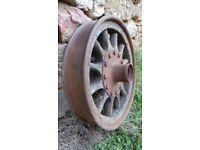 Antique Vtg French Michelin Bibendum Wooden & Metal Wheel 1920's Era RARE (A)
