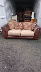 3 and 2 seater leather sofa with cusions