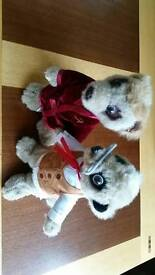 Two soft toy meerkats