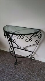 glazed wrought iron occasional table