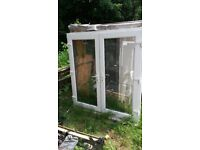 pvc white double doors wite keys good condition ready to use