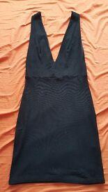 Topshop black deep plunge bodycon mini dress, size 8, wanting £20