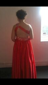 red silk sequine prom dress size 10/12
