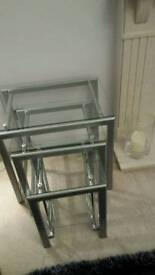 Nest of 3 x glass topped ocasional tables