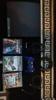 PS3 with controller and 5 games
