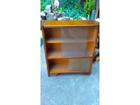 Oak Bookcase Small & Very Light Glass Sliding Doors Very good Condition