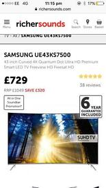 Samsung curved SUHD 4k Tv smart Apps connect box warranty Free Delivery RRP£729