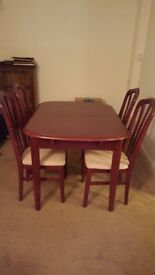 Mahogany Dining Table & 4 Chairs