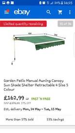 Garden manual awning canopy