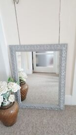 Ornate mirror with grey and silver frame 83 x 64 cm