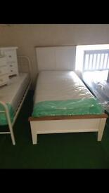 Cream and oak bed in all sizes new