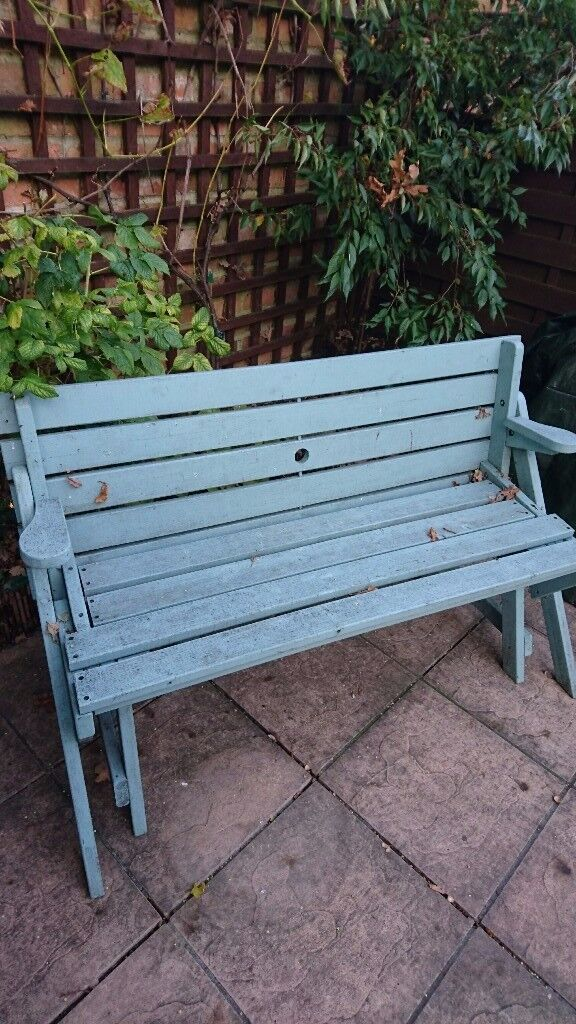 Garden Bench Converts From Seat To Picnic Table In Totton
