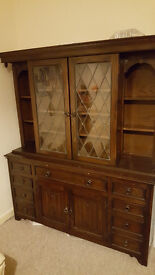 Vintage wood & glass display cabinet