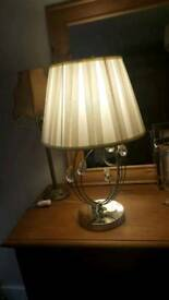 chrome lamp with pale cream shade