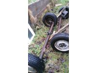 2 complete axle 4 stud wheels tyres brake ready to make on good trailer