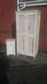 White Wardrobe and Bedside Table