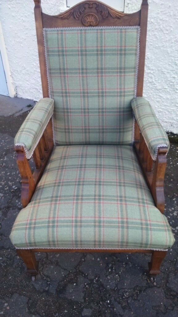 Beautiful TRADITIONAL OAK chair recovered in a green plaid SOLD