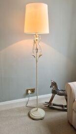 Floor Lamp, Vintage Cream, Leaf and Jewel