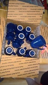 11 Blue Stoneware Cups