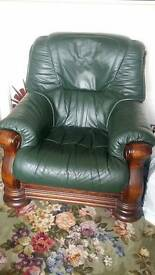 leather and hard wood chair green