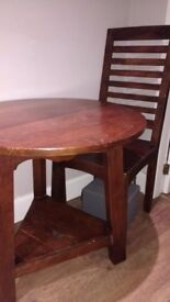 Wooden occasional table and chairs
