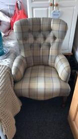 Queen Anne tartan check chair