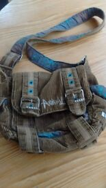 'Animal' handbag in very good condition khaki brown and teal with zip and flap
