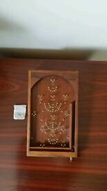 Bagatelle table top game solid wood with brass pins and felt bottom