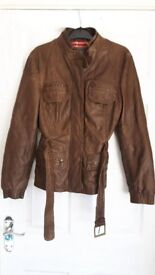 Ladies Brown Leather Jacket Next Size 12 Excellent Condition Very Little Wear £10