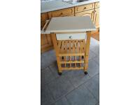 Beech butchers block style wooden kitchen trolley/island